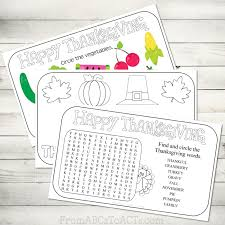 Free printable thanksgiving games & puzzles. Printable Thanksgiving Placemats From Abcs To Acts