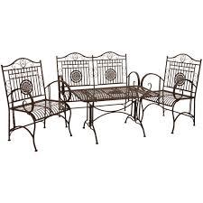 wrought iron indoor furniture. Oriental Furniture Rustic Metal Garden Patio Set - Rust Patina Wrought Iron Indoor I