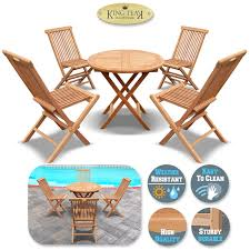 king teak outdoor golden teak wood 4pc folding chair and 1 pc round table set