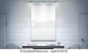 white office interior. Interesting Office White Office Interior With Blank Poster Mockup On The Wall 3d Rendering  Bright Empty Work Meeting Room Vertical Canvas Mock Up Desk Two Chairs Clear  And Office Interior R