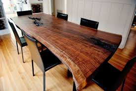 live edge modern walnut dining table
