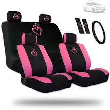 deluxe pink heart car seat steering wheel headrest covers set for hyundai