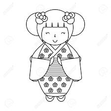 かわいい日本の人形アイコン ベクトル イラスト デザイン