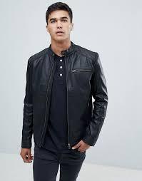 mens biker jacket selected homme leather
