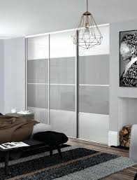 classic 4 panel sliding wardrobe doors in pure white and light grey glass with silver frame