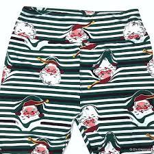 Lularoe Peeking Santa Christmas Leggings Os Green White