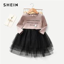 Us 13 99 40 Off Shein Toddler Girls Letter Print Frill And Contrast Mesh Detail Dress Girls Clothing 2019 Fashion Long Sleeve A Line Girls Dress In