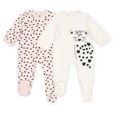 <b>2 пижамы</b> слитные из велюра 0 мес-3 лет розовый + экрю <b>La</b> ...