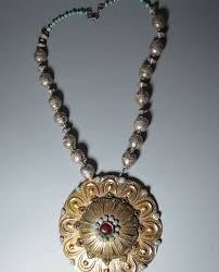 19th century antique central asian gilt silver on necklace sold