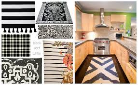 washable kitchen rugs black and white