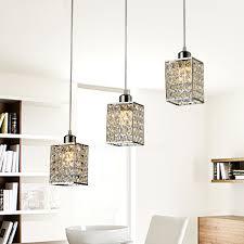 3 lights commercial pendant lights metal crystal for living room