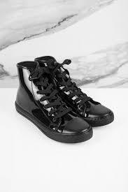 jordana black patent leather high top sneakers