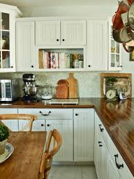 white country kitchen with butcher block. White Cottage Kitchen With Butcher Block Countertops Country N