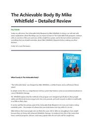 The Achievable Body By Mike Whitfield Detailed Review By