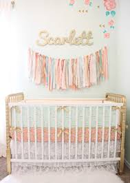 pink white and gold baby bedding ideas