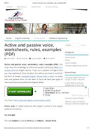 Voice Chart Pdf Pdf Active And Passive Voice Worksheets Rules Examples