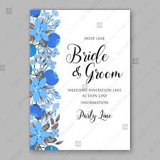 Wedding Cards Template Blue Floral Vector Background Wedding Invitation Card Template Thank