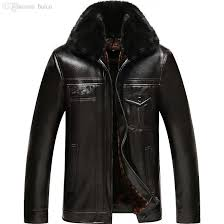 2019 fall 2016 new autumn winter men faux leather jacket with fur collar famous designer brand fur coat high quality leather coat 5102704a from baica