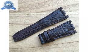 brown genuine crocodile alligator leather watch band strap for audemars piguet 28mm