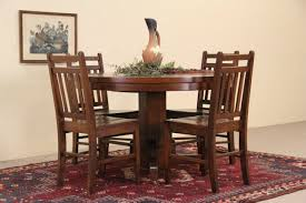 arts crafts mission oak 48 round 1910 antique dining table 2 leaves