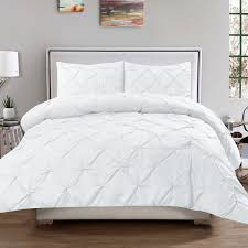 details about luxury 3 piece pinch pleat pintuck duvet cover pillow sham set white queen