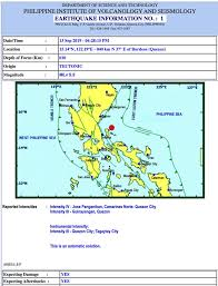 Check out our latest daily earthquake list. Earthquake Close To Polillo Island Luzon Philippines Also Felt In Manila September 13 2019
