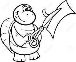 面白いウミガメ動物キャラクター塗り絵用ハサミで紙を切って黒と白の漫画イラスト