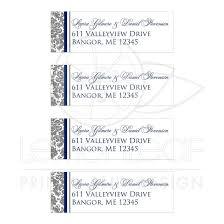 Gray White Navy Blue Damask Personalized Wedding Address Labels