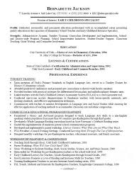 Childhood Specialist Resume pertaining to Early Childhood Education Resume