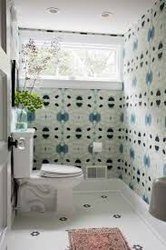 A rug adds texture to a colorful third-floor bath in Pattern Language: A