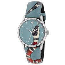 men s gucci g timeless blue leather kingsnake watch ya1264080 reeds jewelers