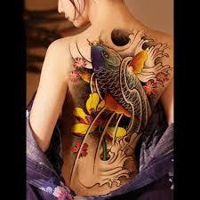 Vodotěsný Dočasné Tetování Nálepka Koi Lotus Pánské Celá Záda