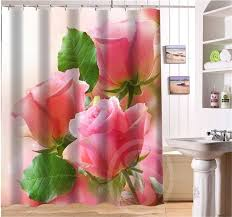 romantic beautiful roses pattern personalized custom shower curtain fabric bath curtain waterproof vintage more size sq0506