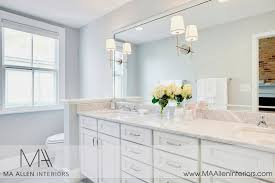 white bathroom cabinets with marble countertops