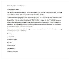 Recommendation Letter For Student Applying To College Letter Of