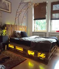 Kinky For The Bedroom Diy Whole Pallet Bed With Headboard And Lights Furniture