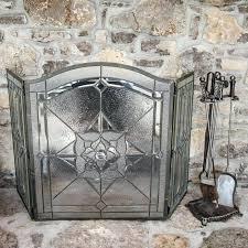 leaded glass fireplace screen leaded glass fireplace screen and tools beveled leaded glass fireplace screen