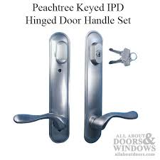 peachtree pella hinged door handle satin nickel