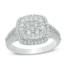1 Ct T W Composite Diamond Cushion Frame Engagement Ring In 10k White Gold
