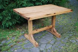 Small And Narrow DIY Pine Trestle Dining Table For Saving Small - Rustic farmhouse dining room tables