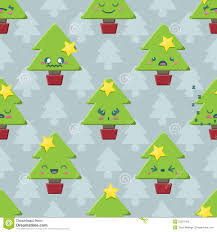 Seamless Cartoon Kawaii Christmas Tree Background Stock Photos ...