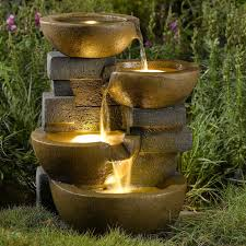 Solar Powered Garden Fountains  Home Outdoor DecorationSolar Water Features With Lights