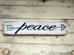 Word Signs Wall Decor Peace Arrow Wall Art Decor Hand Painted Wood Word Sign for Home 48