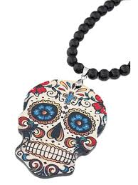 skull pendant black beaded necklace black