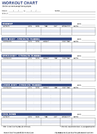 Body Fitness Chart Free Workout Chart Printable Weight Lifting Chart Template