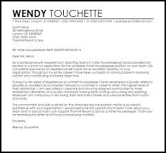 Housekeeping Cover Letter Hotel Housekeeper Cover Letter Sample