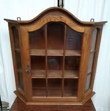 vintage wall cabinet glass wood