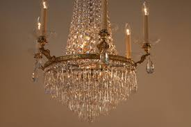 elegant twelve light empire style crystal and bronze chandelier the minimum height completely installed