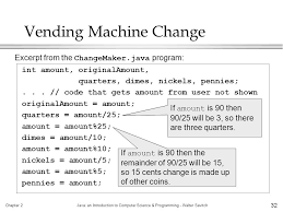 Vending Machine Change Code Extraordinary Chapter 48Java An Introduction To Computer Science Programming