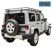eag full width black roof rack cargo basket for 07 18 jeep wrangler jk 4 door